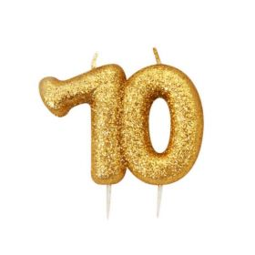 Age 70 Glitter Numeral Moulded Candle Gold