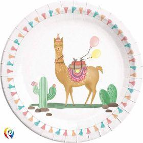 Llama Party Round Plates 23cm, pk8