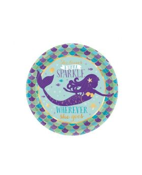 Mermaid Wishes Dessert Plates 18cm, pk8