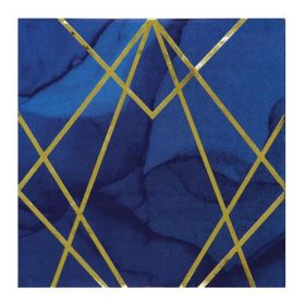 Navy & Gold Geode Party Lunch Napkins 33cm x 33cm, pk16