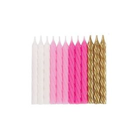 Pink, White and Gold Candles, pk24