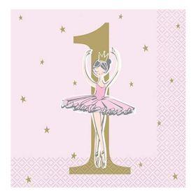 Ballerina Pink & Gold 1st Birthday Party Napkins 33cm x 33cm, pk16