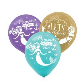 "Mermaid Wishes Latex Balloons 11"", pk6"