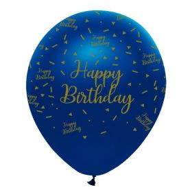 "Navy & Gold Geode Party Happy Birthday Latex Balloons 12"", pk6"