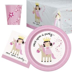 Pink Princess & Unicorn Party Tableware Pack for 8