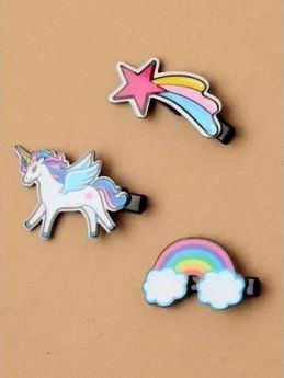 Black Beak Clip With Unicorn/Rainbow/Shooting Star Motif