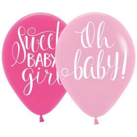 "Floral Baby Latex Balloons 11"", pk6"