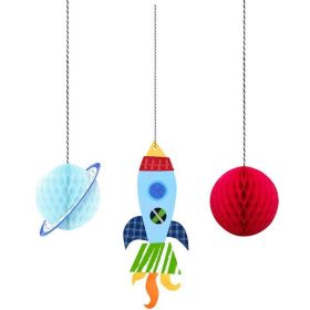 Outer Space Party Honeycomb Decorations, pk3