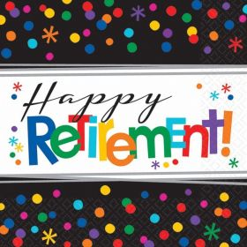Happy Retirement Luncheon Napkins 33cm x 33cm, pk16