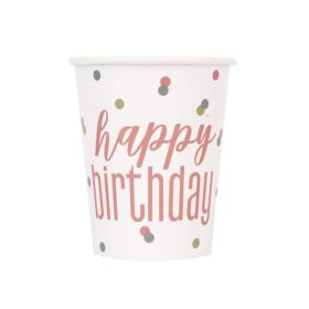 Glitz Rose Gold Happy Birthday Cups 270ml, pk8