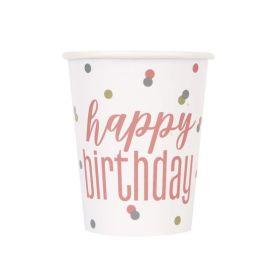 Glitz Rose Gold Happy Birthday Cups 270ml, pk8