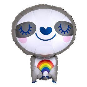 Sloth with Rainbow Foil Balloon
