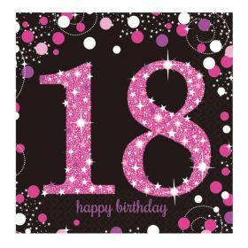 Pink Sparkling Celebration 18th Birthday Luncheon Napkins 33cm x 33cm, pk16