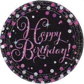 Pink Sparkling Celebration Happy Birthday Plates 23cm, pk8