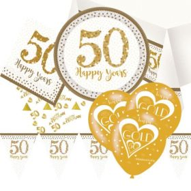 Gold 50th Anniversary Deluxe Party Pack for 16