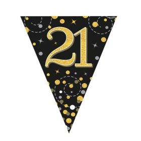 Black & Gold Dots Age 21 Flag Banner 4m