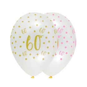 Pink Chic Happy Age 60 Latex Balloons 12'', pk6