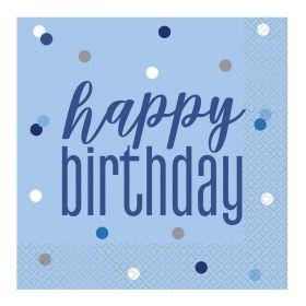 Glitz Blue Happy Birthday Napkins 33cm x 33cm, pk16