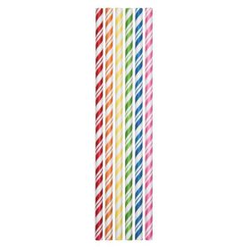 Striped Assorted Colours Paper Straws, pk24