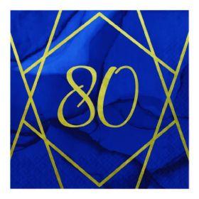 Navy & Gold Geode Party Age 80 Napkins 33cm x 33cm, pk16