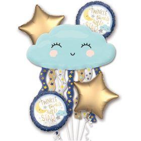 Twinkle Little Star Satin Foil Balloon Bouquet, pk5