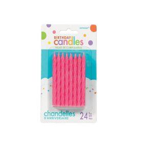 Pink Glitter Spiral Candles, pk24