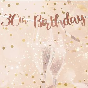 Rose Gold 30th Birthday Letter Script Banner 1.8m