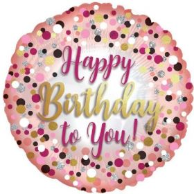 Rose Gold & Pink Dots Happy Birthday Foil Balloon 17""