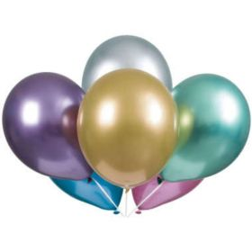 "Assorted Colour Platinum Latex Balloons 11"", pk6"