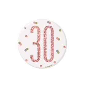 Glitz Rose Gold Age 30 Badge 7.5cm