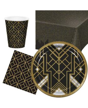 Roaring 20's Party Tableware Pack for 8
