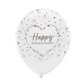 "Happy Engagement Latex Balloons 12"", pk6"
