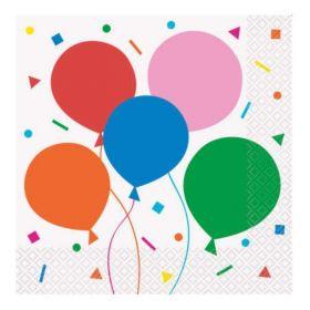Colourful Balloons Party Napkins 33cm x 33cm, pk16