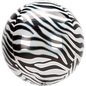 "Animalz Zebra Print Orbz Foil Balloon 16"""