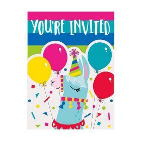 Llama Birthday Party Invitations, pk8