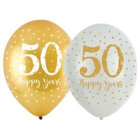 "Golden 50th Anniversary Latex Balloons 11"", pk6"