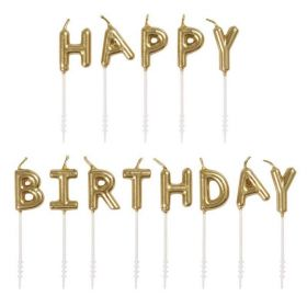 Gold Happy Birthday Pick Candles