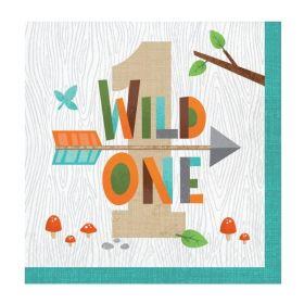Wild Woodland Animals 1st Birthday Napkins 33cm x 33cm, pk16