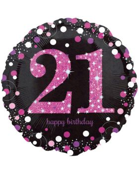 "Pink Sparkling Celebration 21st Birthday Foil Balloon 18"""