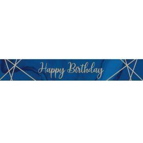 Navy & Gold Geode Happy Birthday Foil Banner 2.74m