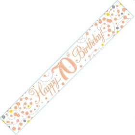 Rose Gold Sparkling 70th Birthday Foil Banner 2.8m