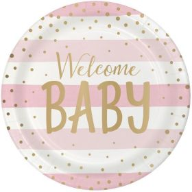 Pink and Gold Baby Shower Party Dinner Plates 23cm, pk8