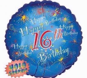 Happy 16th Birthday Holographic Foil Balloon 18''