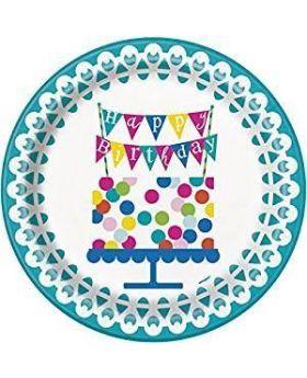 Confetti Cake Birthday Plates, 22cm, pk8