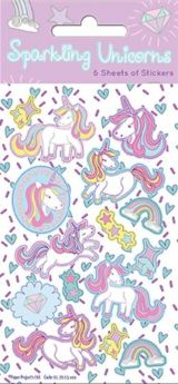 Unicorn Sparkling Party Bag Stickers, pk6
