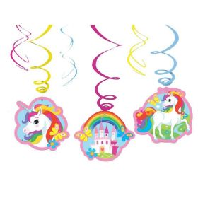 Unicorn Swirl Decorations pk6