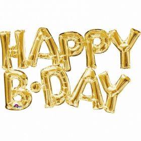 """Happy B-Day"" Phrase Gold Supershape Foil Balloons"