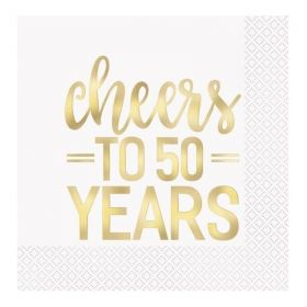 Gold Cheers to 50 Years Napkins 33cm x 33cm, pk16