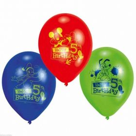 Mickey Mouse ClubHouse 5th Happy Birthday Printed Balloons, pk6
