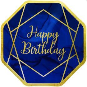 Navy & Gold Geode Party Happy Birthday Plates 23cm, pk8